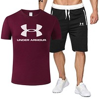 Under Armour Fashion Men Casual Print Short Sleeve T-Shirt Top Shorts Set Two-Piece Sportswear Burgundy
