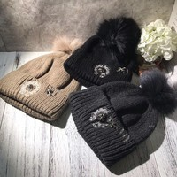 """Chrome Hearts"" Autumn Winter Cool Fashion All-match  Embroidery Hairball Knit Hat Women Warm Hat"
