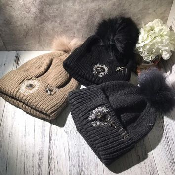 """""""Chrome Hearts"""" Autumn Winter Cool Fashion All-match  Embroidery Hairball Knit Hat Women Warm Hat"""
