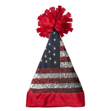 American Flag in Glitter Santa Hat