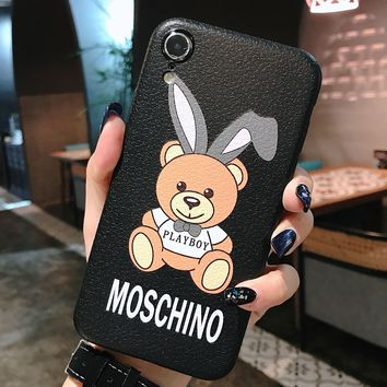 Moschino Tide brand cartoon bear print iPhoneXs mobile phone case cover #1