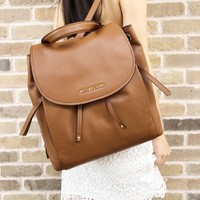 Michael Kors Riley Large Leather Backpack Luggage Brown Drawstring Flap
