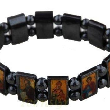 AUGUAU Christian Orthodox Greek Religious Hematite Bracelet with Saints