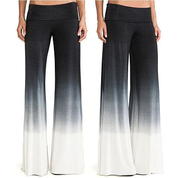 Women Ladies Cotton Cuffs Trousers Solid Palazzo 2017 Wide Leg High Waist Long Loose Casual Dance Pants Black White Gradient