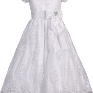 Floral Corded Lace Applique Tulle Communion Dress Girls Plus 10x-16x