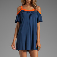 Hillary Open Shoulder Dress in Navy