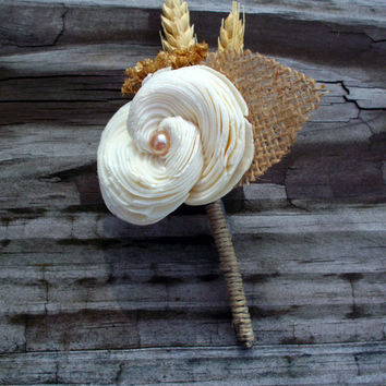 Rustic boutonniere sola flower boutonniere wedding accessories grooms accessories rustic wedding