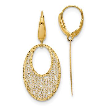 14k Yellow Gold Floral Dangle Leverback Earrings