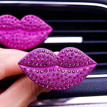 Red Lip Bling Crystal Car Vent Decal Clip with the Back to hold the Air Fragrance
