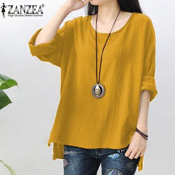 New ZANZEA Autumn Cotton Linen Blouse Women Long Sleeve Split Hem Solid Shirt Casual Loose Work OL Tops Robe Femme Party Blusas