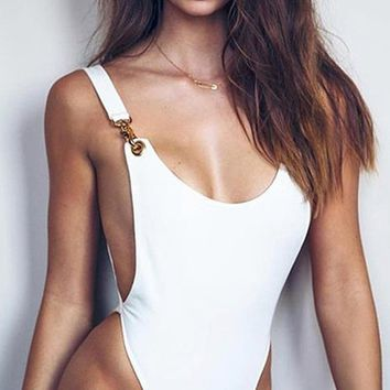 Cutting Corners Sleeveless Metal Hook Deep Scoop Neck Cut Out Side Bodysuit Top - 2 Colors Available