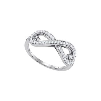10k White Gold Round Diamond Womens Unique Infinity Woven Band Ring 1/3 Cttw