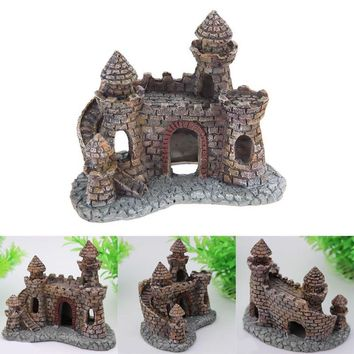 Lowest Price Aquarium Castle Tower House Ornament Fish Tank Decor Aquatic Animals Shrimp Cave V1NF