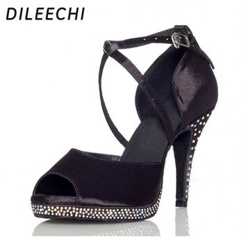 DILEECHI Rhinestones Black Satin Women ultra high heels 10cm Latin dance shoes Waterproof platform Increased Pumps Party shoes