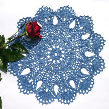 Crochet Lace Doily 13 Inches Blue Doily Round Doily Crochet Doily Blue Table  Topper Centre Piece