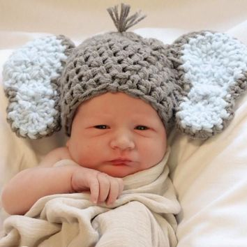 Crochet Dark Grey Baby Elephant Hat Newborn Photo Prop