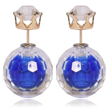 Gum Tee Mise en Style Tribal Double Bead Earrings - Hidden Gem Royal Blue