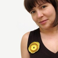 Yellow and orange leather flower Brooch by katrinshine on Etsy
