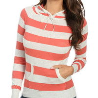 Rugby Stripe Hoodie Sweater | Shop Sweaters at Wet Seal