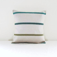 Small Stripe pillow cover, 12 inch cushion cover, beige petrol blue turquoise olive stripes Ashley Wilde fabric, handmade in the UK