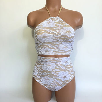 White lace halter retro swimsuit