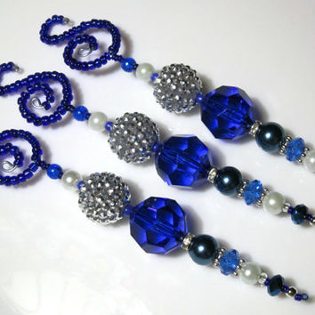 Navy Blue & Silver Bling Beaded Christmas Icicle Ornaments - Set of 3 (PS10)