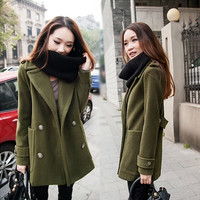 Button Thick Long Sleeves Turn-down Collar Short Coat