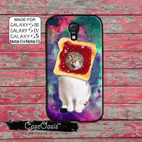 Cat Jelly Toast Funny Cute Kitty In A Space Galaxy Tumblr Inspired Custom Galaxy S5 and S4 and S3 Case and Galaxy Note 2 and Note 3 Case