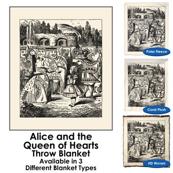 Alice in Wonderland - Alice and the Queen of Hearts - Throw Blanket / Tapestry Wall Hanging