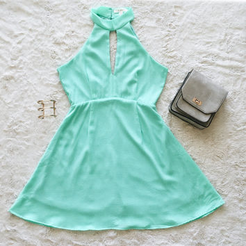 A Halter Fit and Flare in Mint