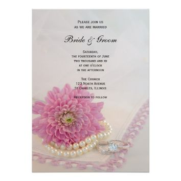 White Pearls, Rings Pink Lace Wedding Invitation
