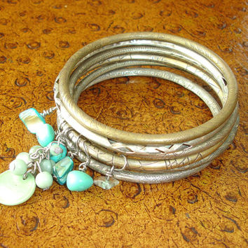 Stacked Bracelet Set: Gypsy Jewelry, Turquoise Beaded Bracelets, Indian Jewelry, Silver and Brass Beaded Bangles, Stackable Braclets, India