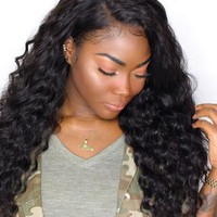 Loose Wave Brazilian 200% Pre-Plucked Remy Lace Front Human Hair Wig