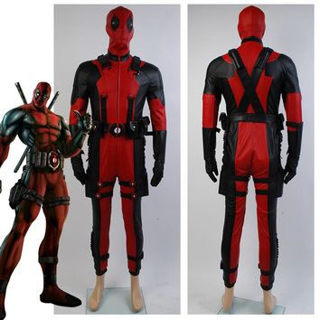Deadpool costume Hot 2016 Movie superhero Red Leather Jumpsuit Deadpool cosplay costume adult custom made outfit costume