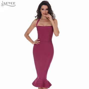 Women Party Bodycon Bandage Dress Sexy Khaki Wine Red Off Shoulder Halter Fishtail Midi Club Backless summer Dresses