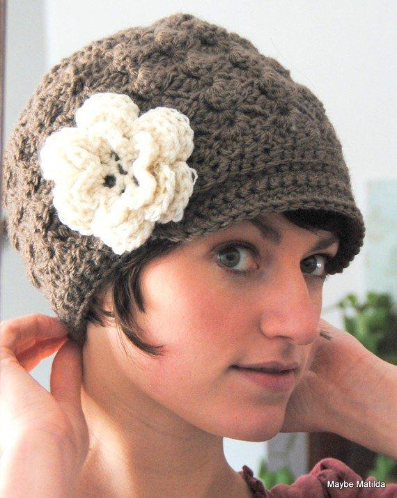 Adult Crochet Brimmed Beanie Hat With From Maybematilda On
