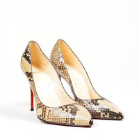 PEAP3D5 Christian Louboutin Brown and CreamChristian Louboutin Snakeskin Leather Decollete Pumps