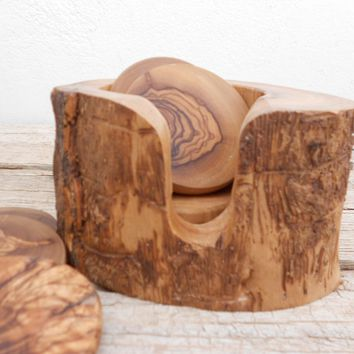 Engraved Natural Edges Olive Wood Rustic Coaster set with Rustic Holder, Wooden Coaster set, Rustic Wedding Decor Gift