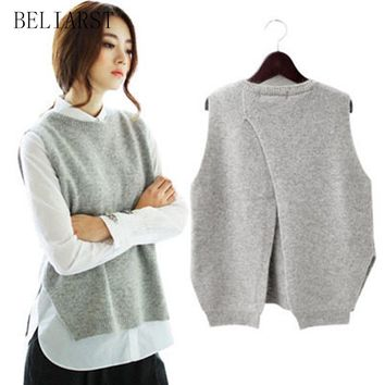 BELIARST Spring New Cashmere Knit Vest back Split hedging loose Sweater Vest Waistcoat Female thin section knitted pullover