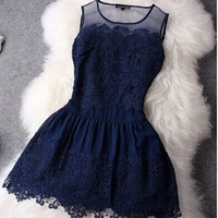 Big Stitching Lace Sleeveless Vestidos Evening Mini Sexy Women Summer Dress