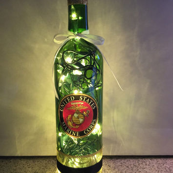 United States Marines wine bottle lamp, USMC bottle lamp, gift for Marine, Marine Corps gift idea, Military gift