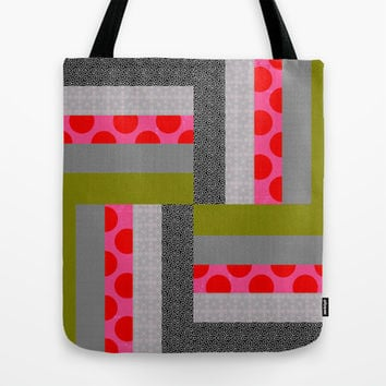 Modern Neon Log Cabin Quilt Design Tote Bag by Dragonfire Graphics
