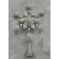 Metal & Acrylic Snowflake Tree Topper with Jewels 13-in