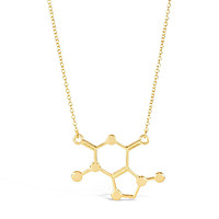 Gold Caffeine chemical Molecule Necklace for Coffee Lovers