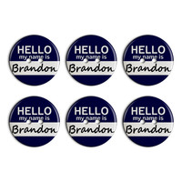 Brandon Hello My Name Is Plastic Resin Button Set of 6