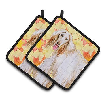 Afghan Hound Fall Pair of Pot Holders BB9963PTHD