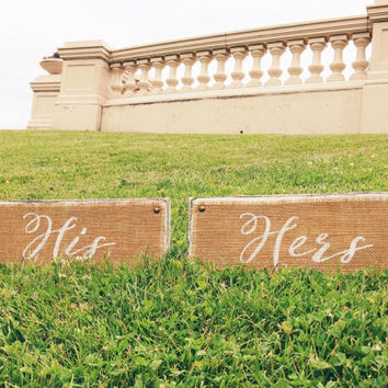 His and Hers Burlap Wood Signs Pair Calligraphy / White Distressed / Wedding Decor / Handwritten / Closet Organize / Label