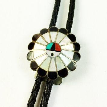 Zuni Sunface Mother of Pearl Onyx Bolo Tie Slide-Zuni Sunface Bolo Tie Slide Black Leather Tie-Silver Tone Vintage