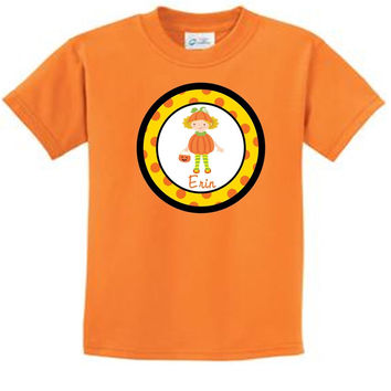 Pumpkin Girl  with Blonde Curly Hair on Tangerine T-Shirt