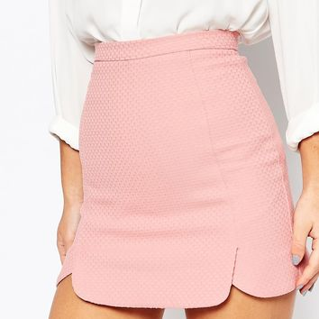 Alter Petite Scallop Hem Textured Mini Skirt